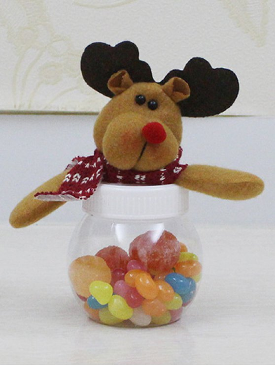 Christmas Cute Plush Elk Toy Candy Jar - TRANSPARENT  Mobile