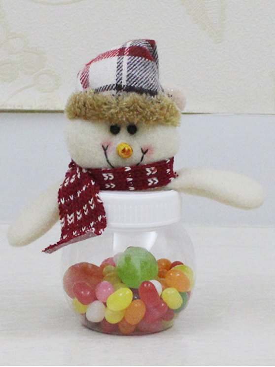chic Christmas Cute Plush Snowman Toy Candy Jar - TRANSPARENT