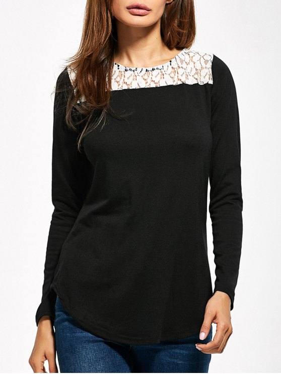 Lace Panel Cut Out T-Shirt - BLACK XL Mobile