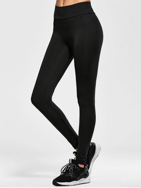 Elastic Waist Running Leggings - BLACK ONE SIZE Mobile