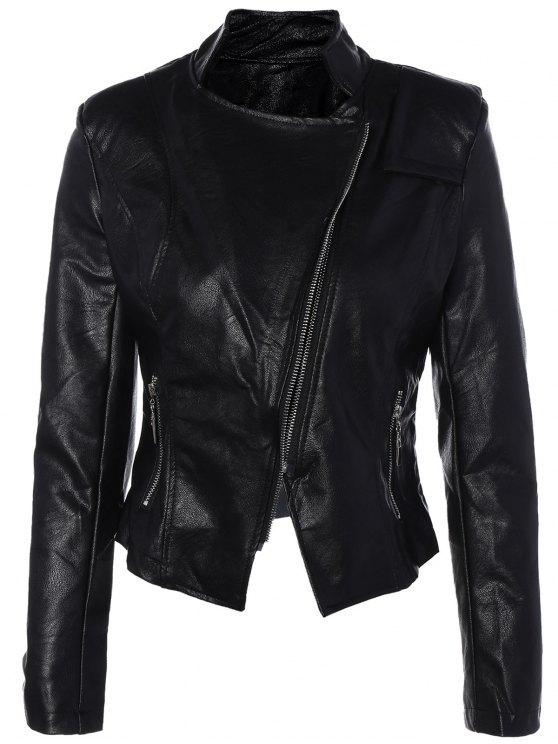 Inclined Zipper PU Leather Biker Jacket - BLACK M Mobile