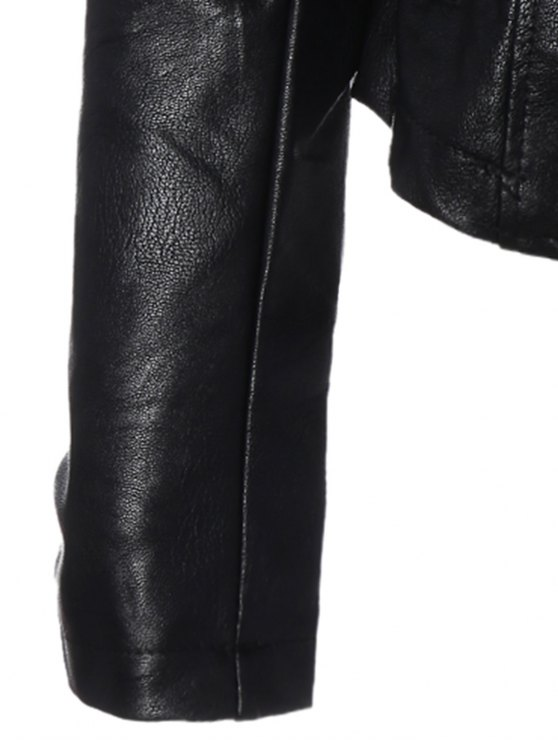 Inclined Zipper PU Leather Biker Jacket - BLACK S Mobile