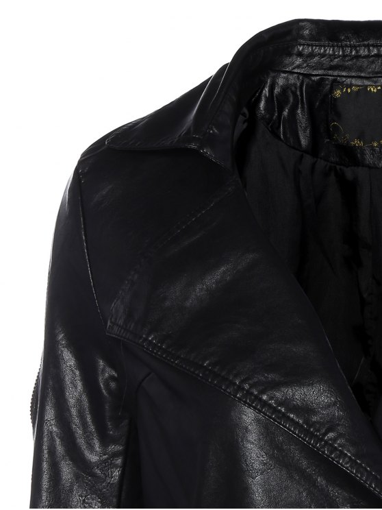 Lapel Collar Double Breasted PU Leather Coat - BLACK M Mobile