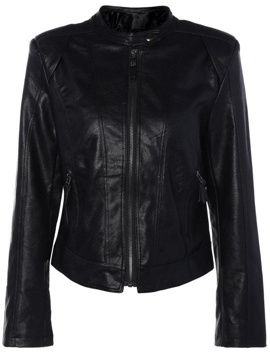 Punk PU Leather Biker Jacket - BLACK M Mobile