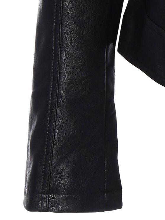 Punk PU Leather Biker Jacket - BLACK M Mobile