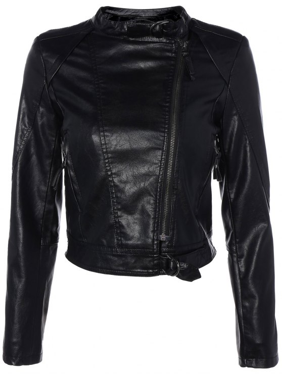 Inclined Zippered PU Leather Biker Jacket - BLACK M Mobile
