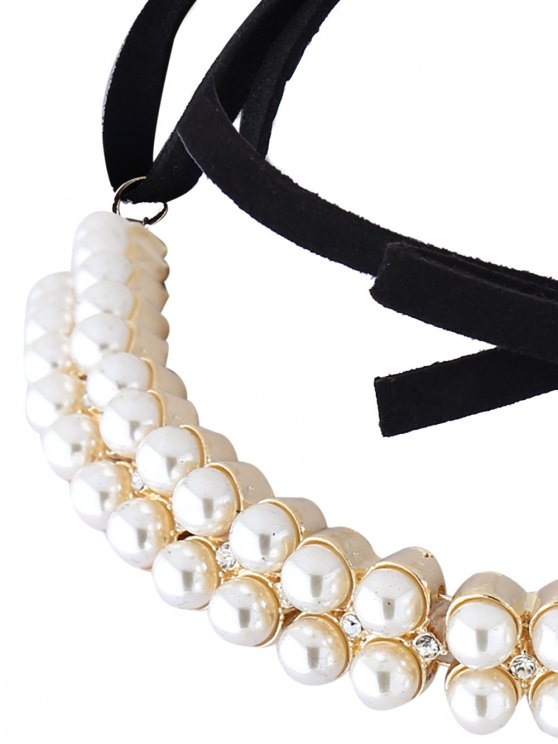 Velvet Fake Pearl Choker Necklace - GOLDEN  Mobile