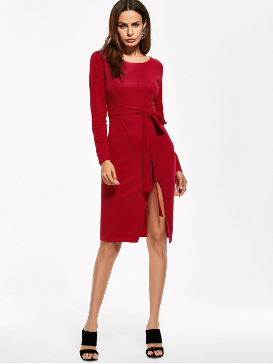 Round Neck Furcal Belted Bodycon Dress - RED M Mobile