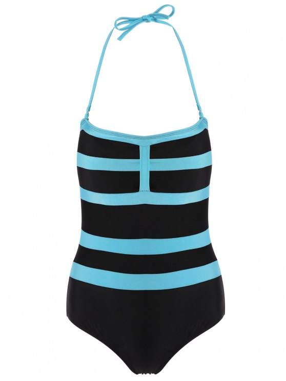 Halter Sleeveless Color Block One-Piece Swimwear - BLACK L Mobile