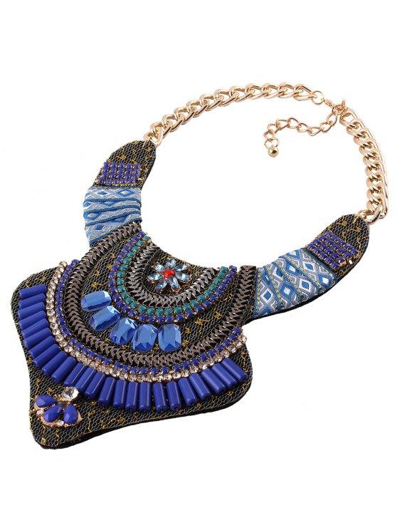 Vintage Rhinestone Alloy Flower Necklace - BLUE  Mobile