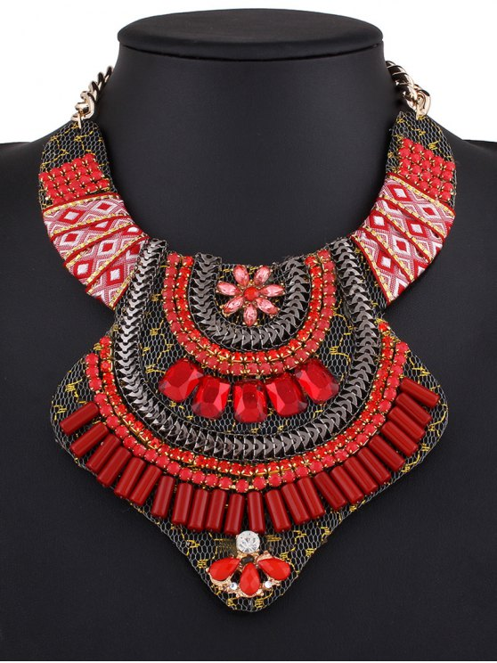 Vintage Rhinestone Alloy Flower Necklace - RED  Mobile