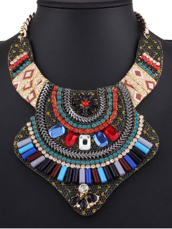 Vintage Rhinestone Alloy Flower Necklace - COLORMIX  Mobile