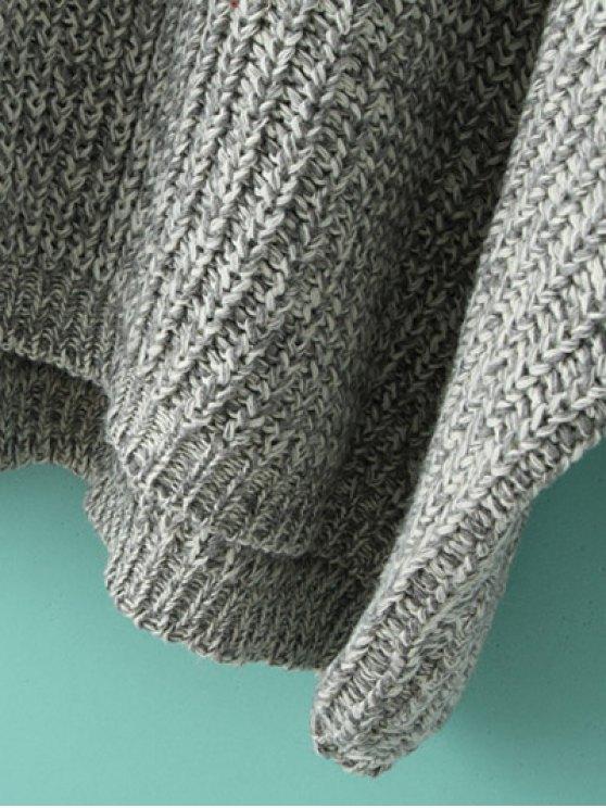 Space Dye Oversized Batwing Sweater - KHAKI ONE SIZE Mobile
