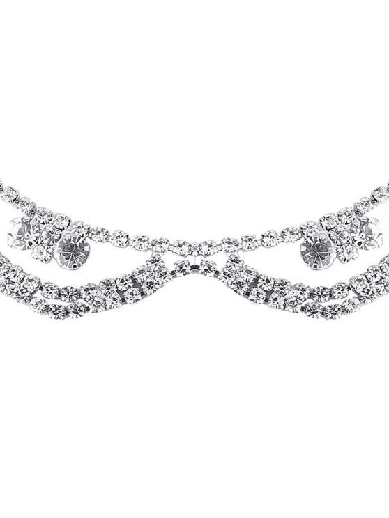 Alloy Rhinestone Layered Necklace - SILVER  Mobile
