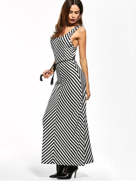 Striped Racerback Maxi Tank Dress - STRIPE M Mobile