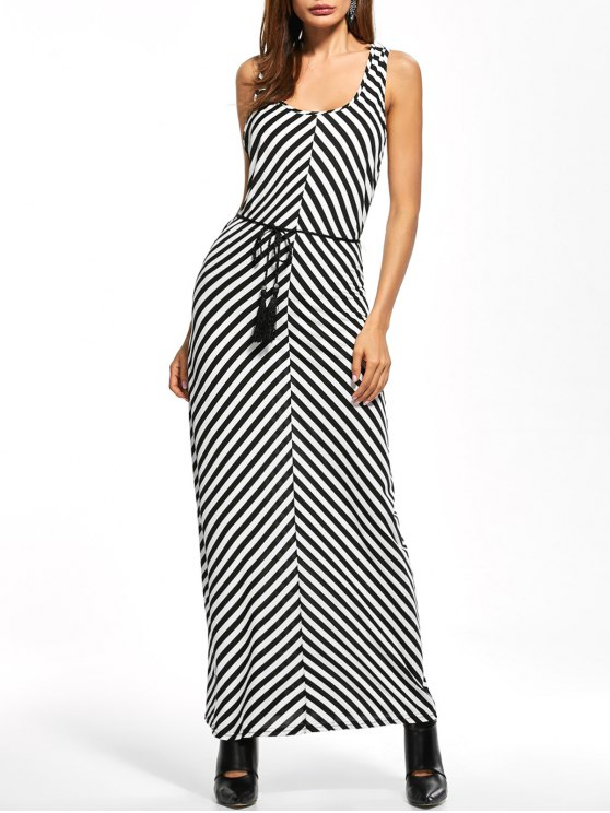 Striped Racerback Maxi Tank Dress - STRIPE L Mobile