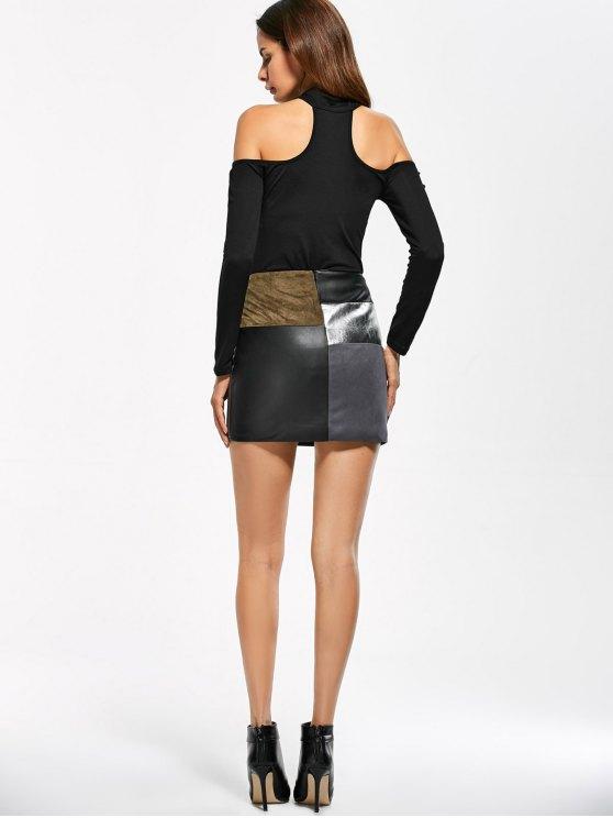 Long Sleeve Fitted Choker Bodysuit - BLACK M Mobile
