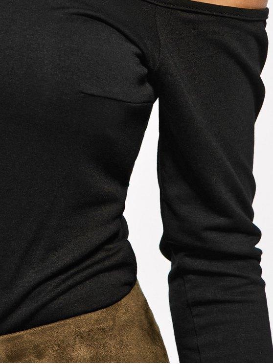 Long Sleeve Fitted Choker Bodysuit - BLACK L Mobile