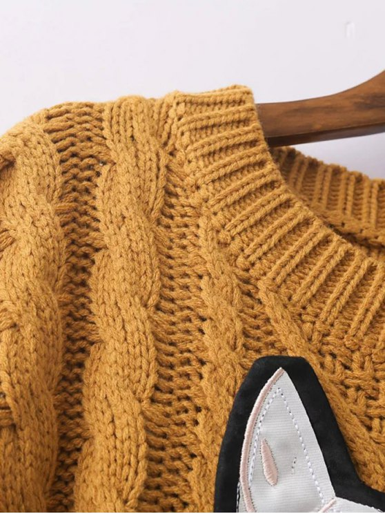 Cable Knit Patched Sweater - EARTHY ONE SIZE Mobile