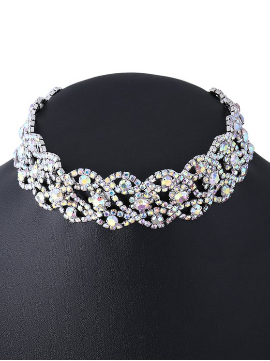Hollowed Rhinestone Necklace - SILVER  Mobile