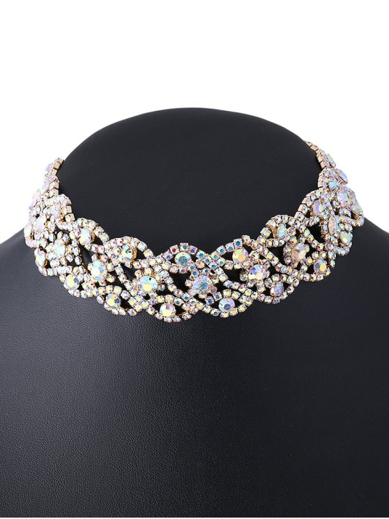 Hollowed Rhinestone Necklace -   Mobile