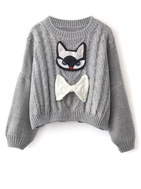 Cable Knit Patched Sweater - GRAY ONE SIZE Mobile