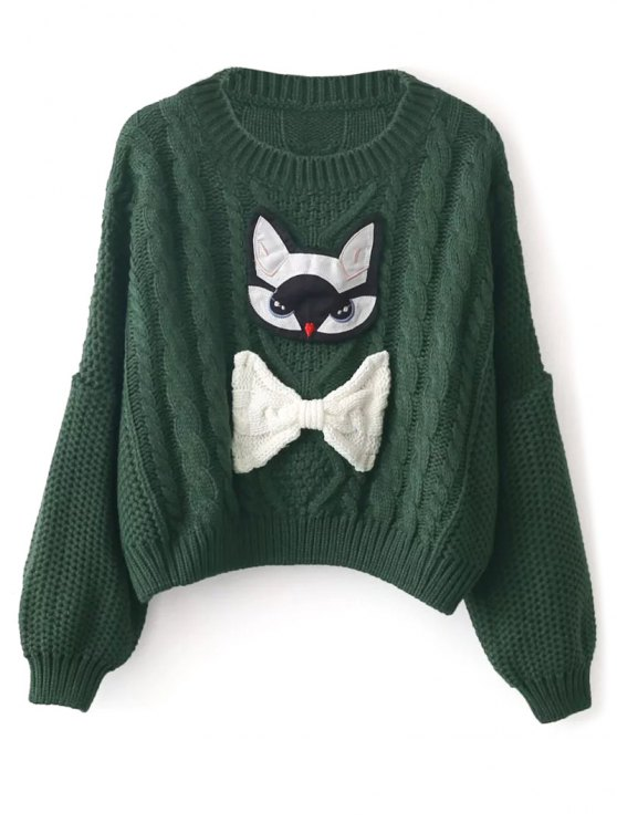 Cable Knit Patched Sweater - GREEN ONE SIZE Mobile