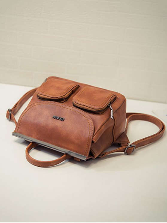 Stitching Pockets Metal Trimmed Backpack - BROWN  Mobile