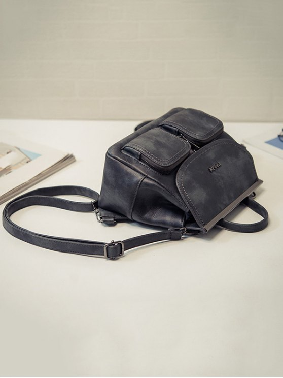 Stitching Pockets Metal Trimmed Backpack - GRAY  Mobile
