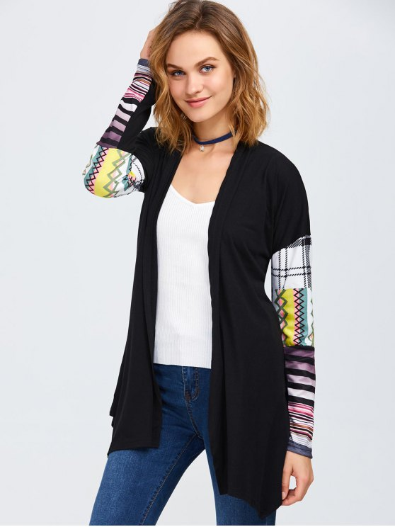 Collarless Tribal Print Duster Coat - BLACK M Mobile