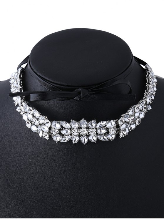 Faux Leather Rhinestone Necklace - SILVER  Mobile
