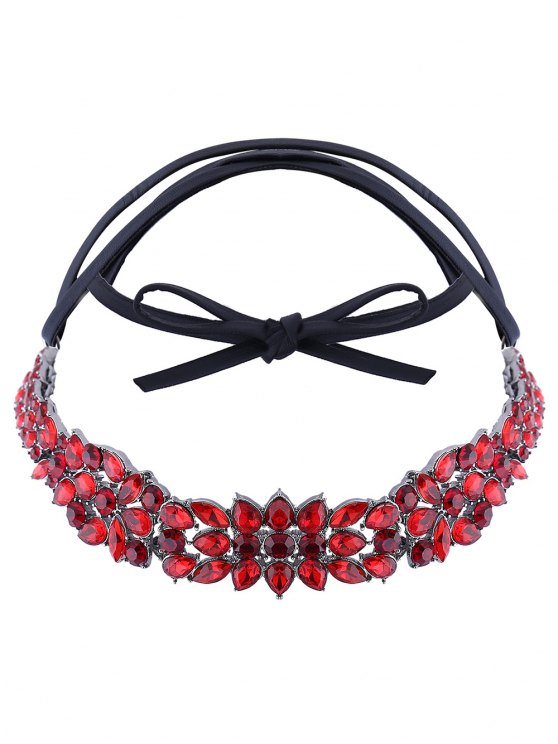 Faux Leather Rhinestone Necklace - RED  Mobile