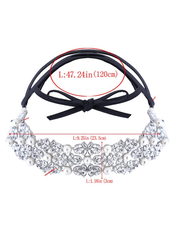Faux Pearl Rhinestone PU Leather Necklace - SILVER  Mobile