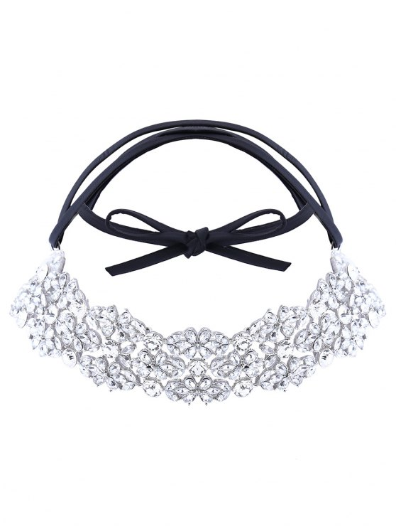 Rhinestoned PU Leather Necklace - WHITE  Mobile