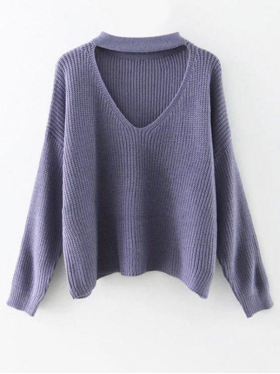 Cutout V Neck Choker Sweater - PURPLE ONE SIZE Mobile