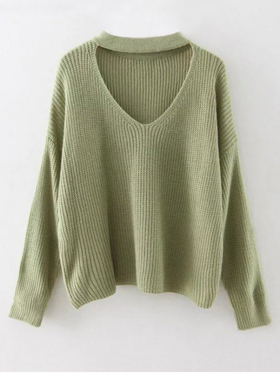 Cutout V Neck Choker Sweater - GRASS GREEN ONE SIZE Mobile