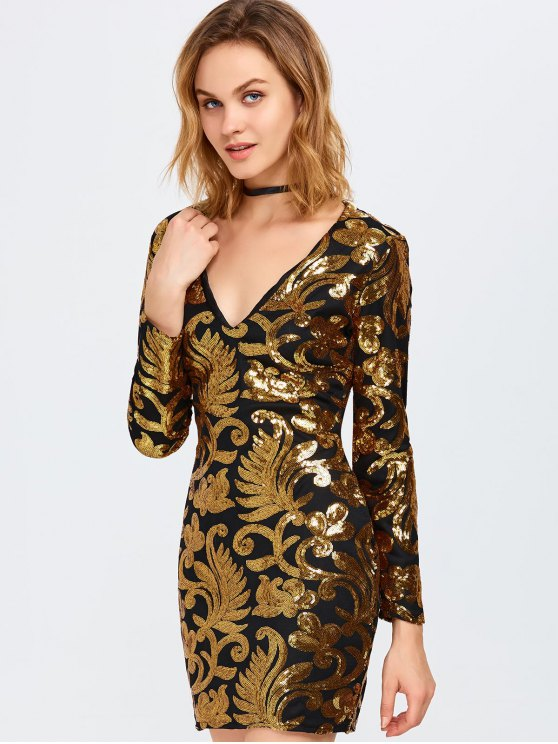 Long Sleeve Sequined Sparkly Dress - GOLDEN M Mobile