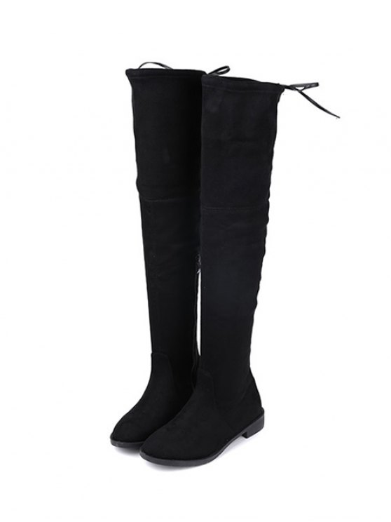Suede Flat Heel Thigh High Boots - BLACK 37 Mobile