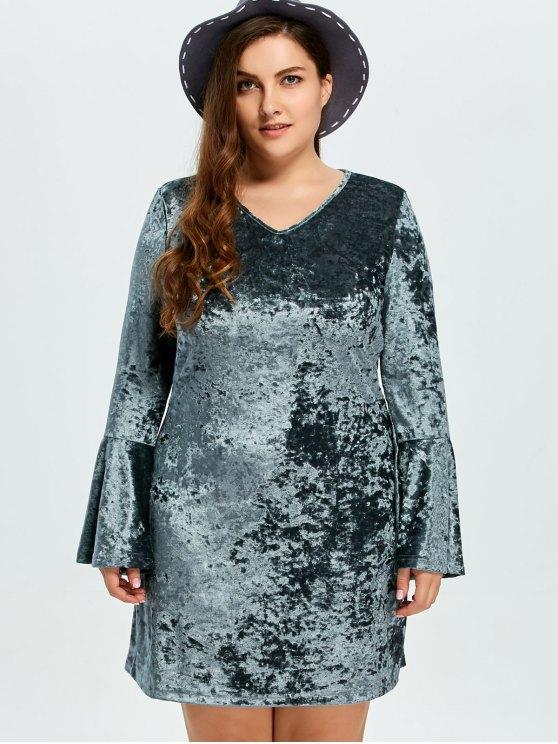 Belled Sleeve Plus Size Velvet Dress - GREEN 3XL Mobile