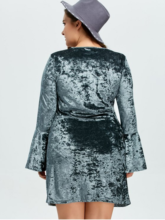 Belled Sleeve Plus Size Velvet Dress - GREEN XL Mobile