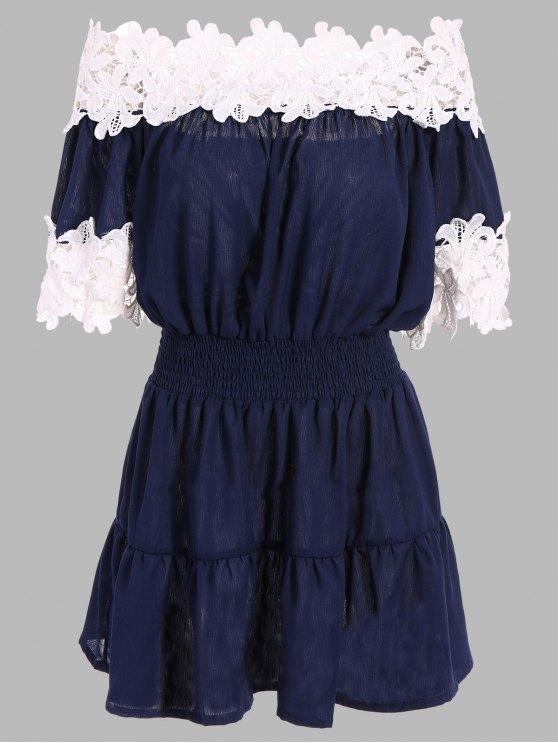 Contrast Lace Off The Shoulder Dress - PURPLISH BLUE S Mobile