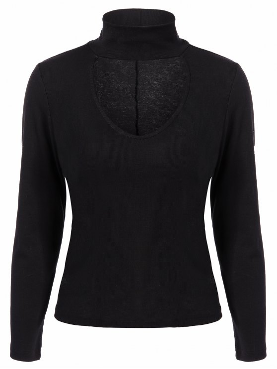Ribbed Long Sleeve Choker Tee - BLACK XL Mobile