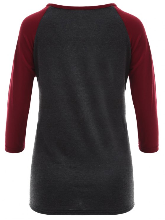 Raglan Sleeve Graphic Christmas Tee - GRAY AND RED M Mobile