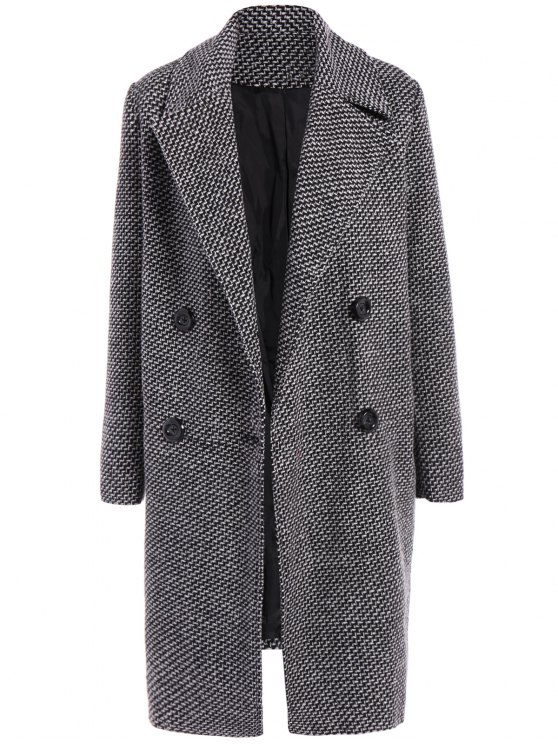 Fitting Checked Wool Coat - BLACK 2XL Mobile