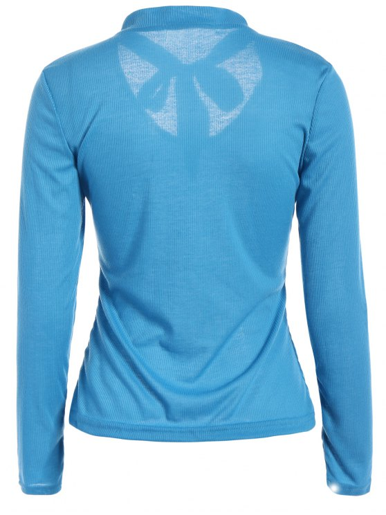Long Sleeve Tie Neck Tee - BLUE S Mobile