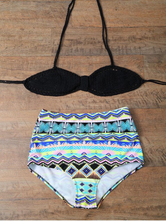 High Waisted Knitted Bikini Set - MULTICOLOR M Mobile