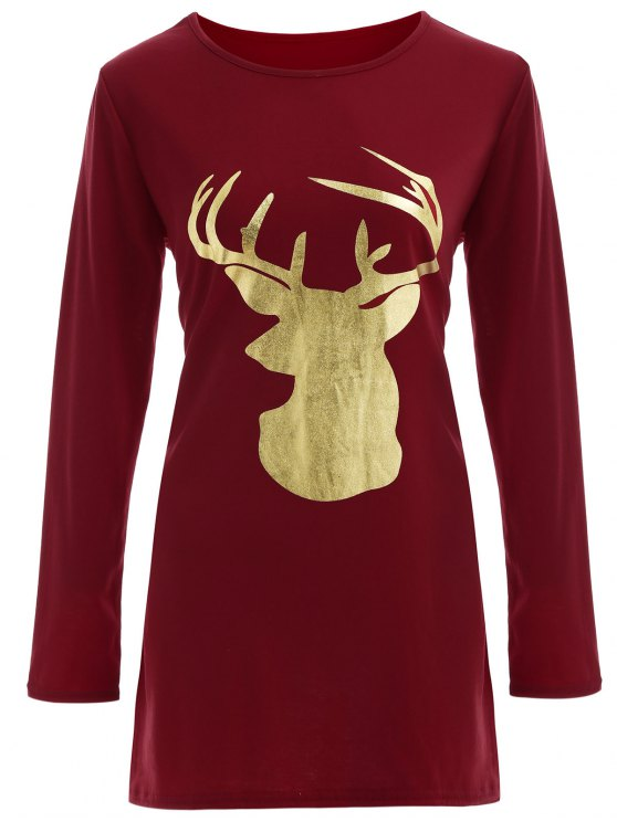 online Reindeer Christmas Tee Dress - BURGUNDY XL