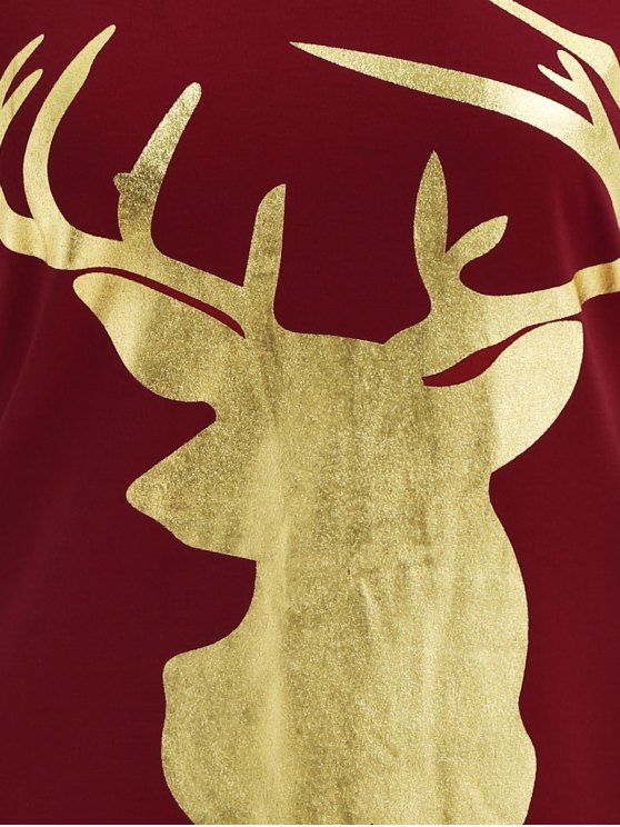 Reindeer Christmas Tee Dress - BURGUNDY S Mobile