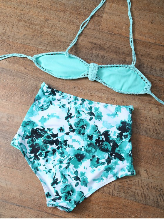 High Rise Knitted Stringy Bikini - BLUE AND GREEN L Mobile