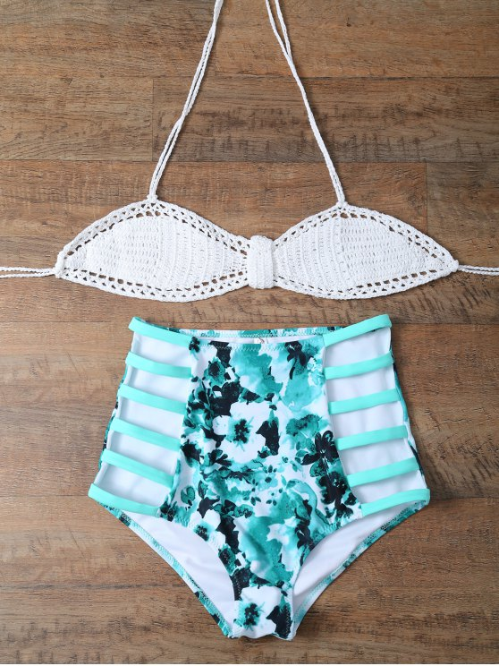 High Rise Knitted Halter Bikini - WHITE AND GREEN L Mobile